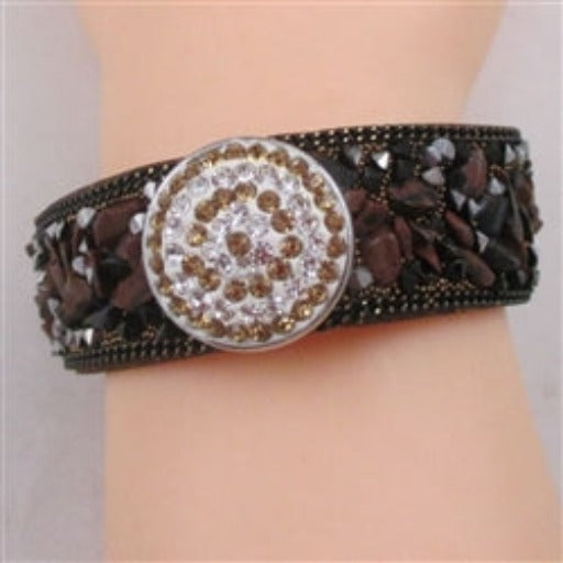 Buy brown stone & crystal fashion leather bracelet