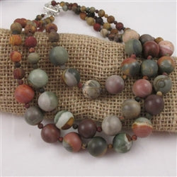 Buy natural Picasso jasper gemstone multi-strand necklace
