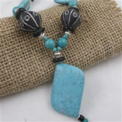 Bold magnesite gemstone & vintage African clay bead necklace