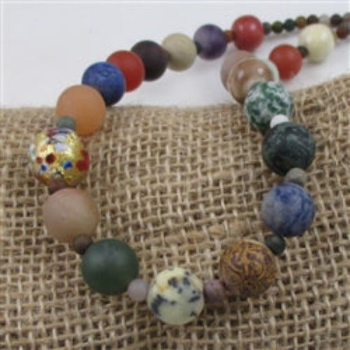 mixed matte natural  gemstone bead necklace