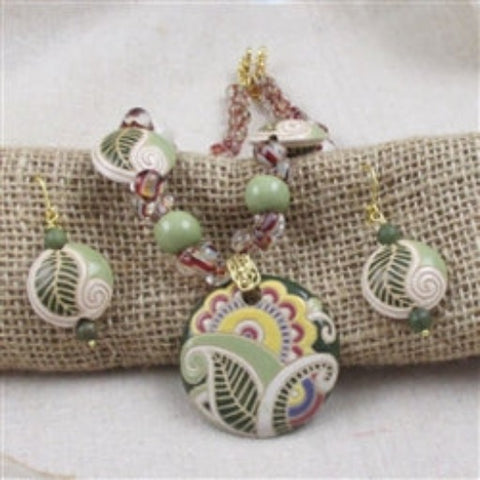 Handmade yellow, green & beige  artisan bead  necklace & earrings