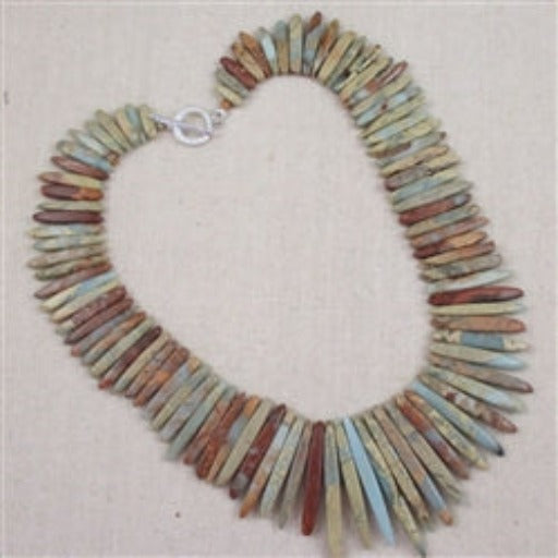 Rustic spiked snake skin jasper bead necklace