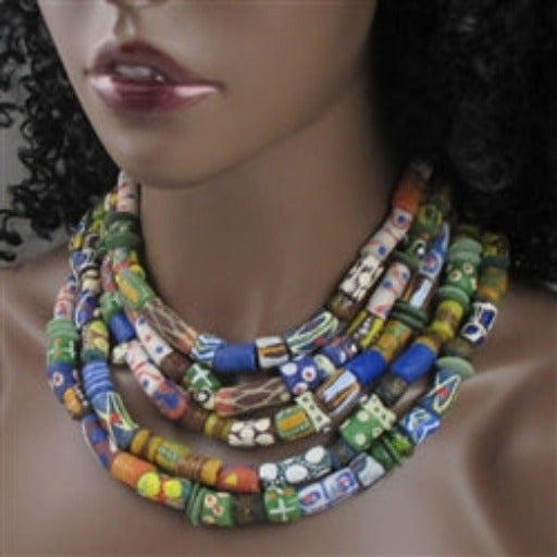 Multi-strand African fair trade  bead handmade beaded statement necklace made with beads from Ghana