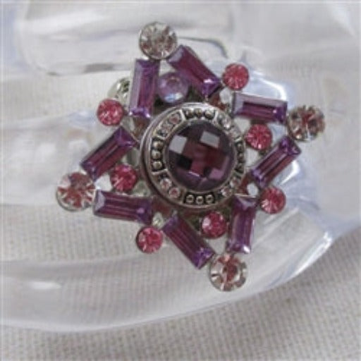 Delightful rhinestone floral motif adjustable fun fashion ring