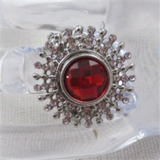 Delightful rhinestone red rhinestone adjustable fun fashion ring