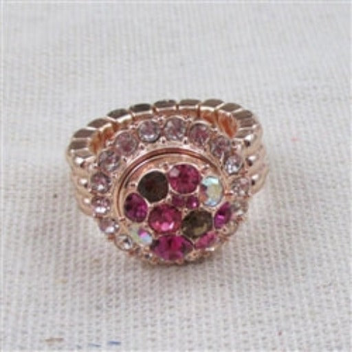 Buy delightful pink multi-crystal rose gold fashion stretch ring