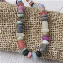 A mixture of matte finished rainbow natural gemstone necklace