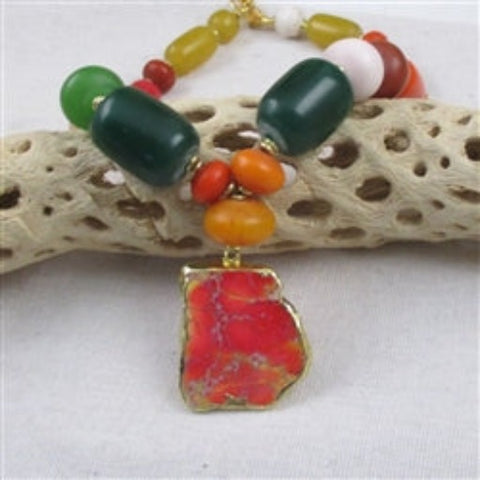 Big bold statement African trade bead necklace with bold stone pendant