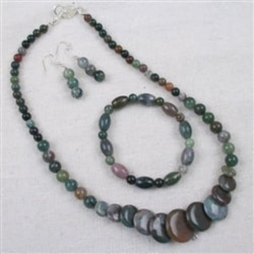 Moss agate necklace bracelet & earrings