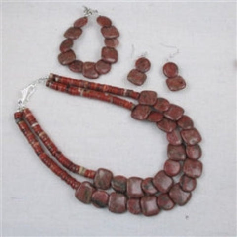 Red Jasper necklace bracelet & earrings