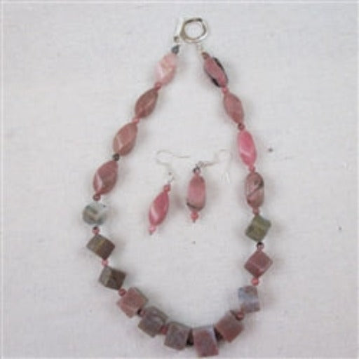 Buy unique dusty pink gemstone necklace & earrings
