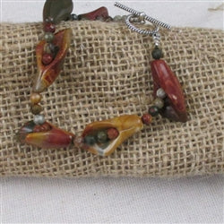 Gemstone bracelet in lily shaped picasso creek jasper gemstones
