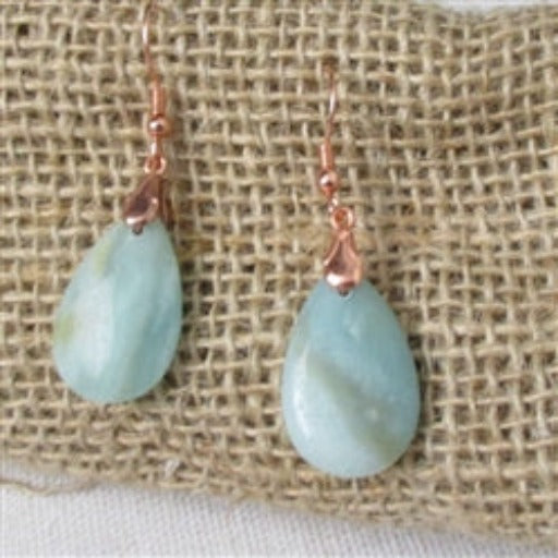Classic amazonite gemstone  & copper earring