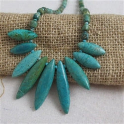 Buy alluring turquoise gemstone beaded necklace bib design