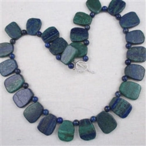 Blue chrysocolla bead statement necklace