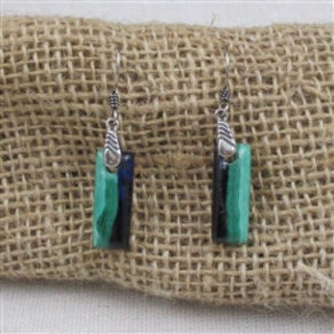 Handcrafted designer cut dark blue & aqua gemstone drop earrings