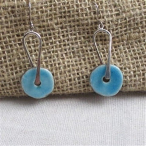 Buy silver & aqua artisan handmade raku  bead drop earrings