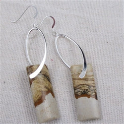 Affordable picture jasper long & dangling earrings