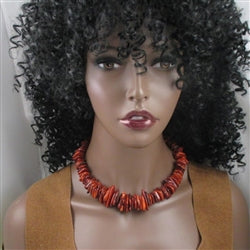 Buy affordable big bold statement rust beaded necklace
