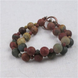 Gemstone double strand  bracelet in red creek jasper  is a classic