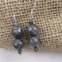 Classic gemstone dark grey earrings