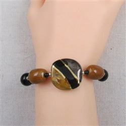 buy black & honey fair trade Kazuri bead bracelet