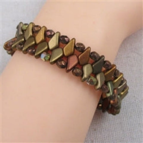 Copper crystal diamond cut beaded c bracelet