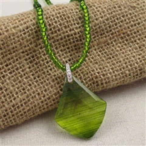 Buy Big green glass pendant pendant on a green seed bead necklace