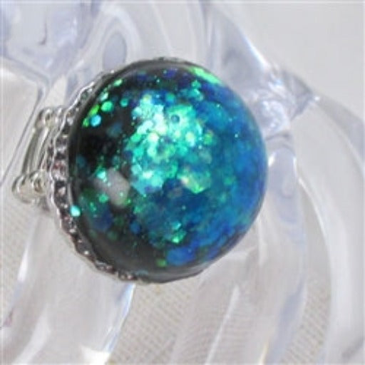 Delightful fun big bold blue green fun ring