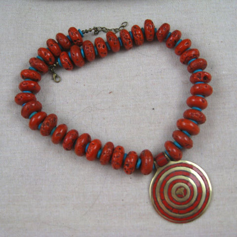 Tibetan Red Buddha Eye Pendant Necklace