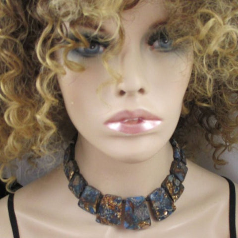Blue Imperial Jasper Statement Collar Necklace