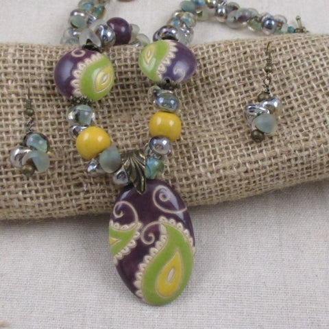 Handmade Green & Purple Artisan Bead Necklace & Earrings