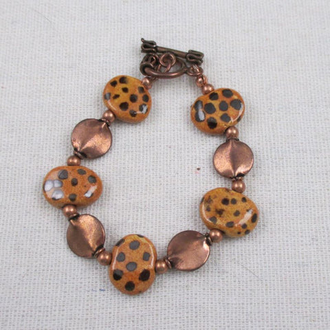 Handmade Bracelet in Fair Trade Cheetah Print Kazuri Beads