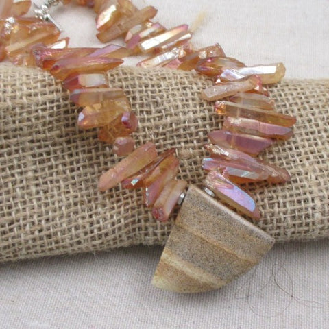 Pink Opal Collar Necklace with AJasper Gemstone Pendant