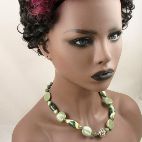 Shimmering Green African Fashion Kazuri and Serpentine Necklace