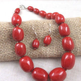 Red Necklace & Earrings in Handmade Big Bold Fair Trade Kazuri Beads