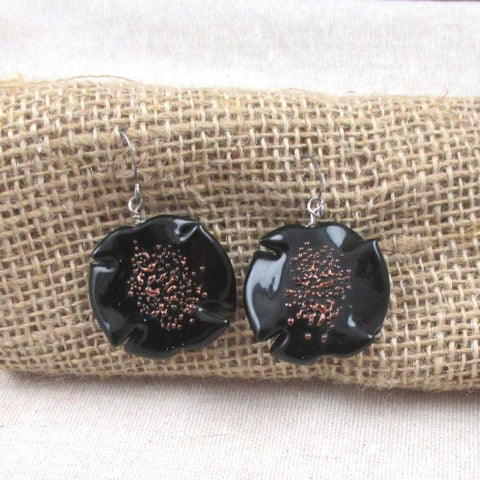 Handmade Black Artisan Bead Drop Earrings