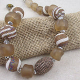 Chunky Beige and White Beaded Bead Designer Necklace