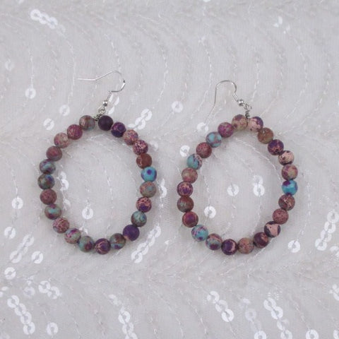Big Purple Gemstone Jasper Hoop Earrings