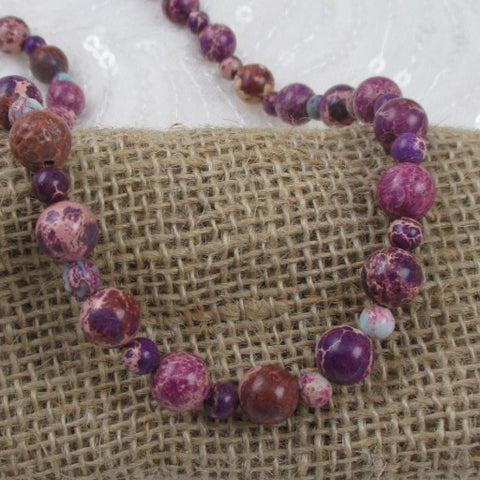 Purple Gemstone Classic Necklace Long Handcrafted Necklace