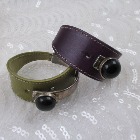 Wide Cuff Leather Bracelet Silver & Black Accent