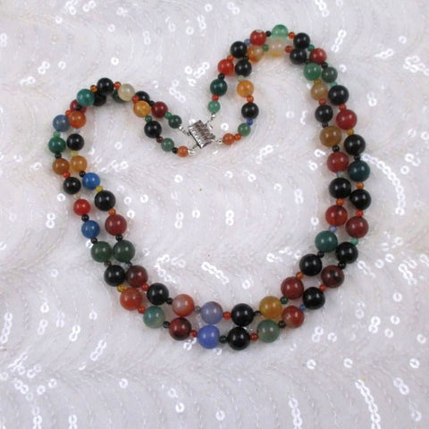 Multi-colored Agate Double Strand Classic Beaded Necklace