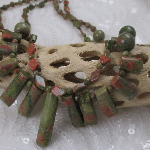 Double Strand Gemstone Unakite Necklace