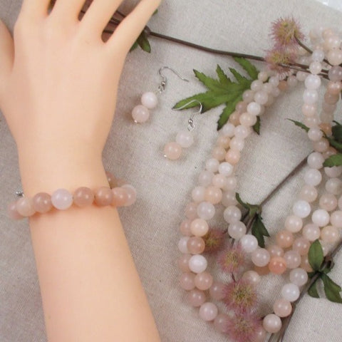 Pink Light Gemstone Designer Necklace,Bracelet & Earrings
