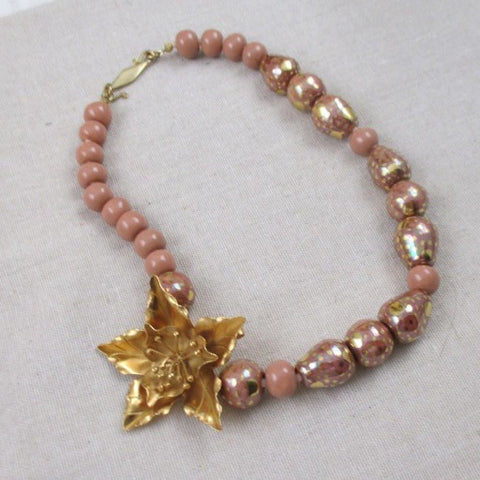 Kazuri Necklace in Rainbow Melon with Gold Flower