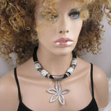 Big Bold Black & White Statement Necklace with Flower Pendant