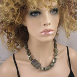 Exotic Pyrite Bead Necklace with  Picture Jasper Accents