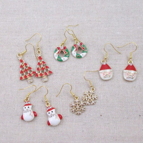 Holiday Charm Gold Earrings