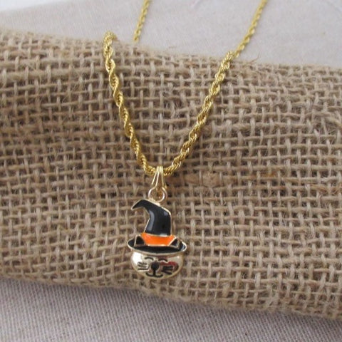 Halloween Cat Charm Pendant Necklace