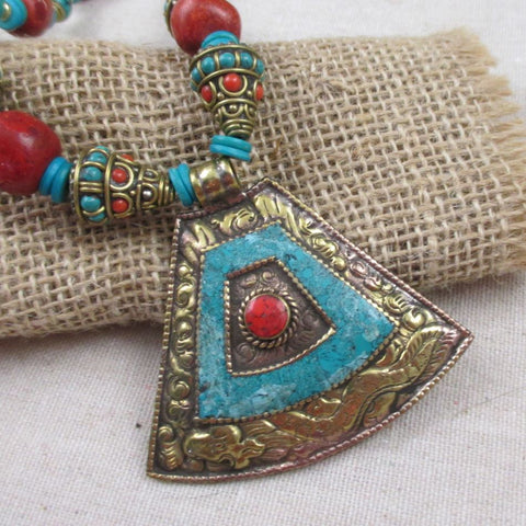 Tibetan Inlaid Bold Pendant Necklace